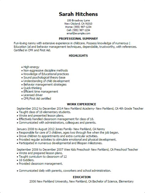nanny resume objective 28 images resume sle template