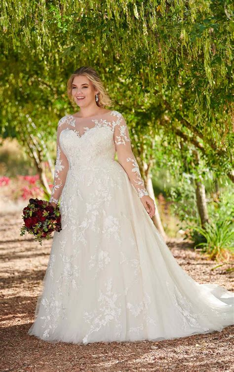 Modest Plus-Size Wedding Dress with Sleeves   Essense of ...