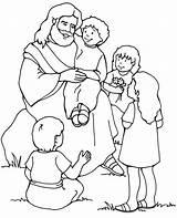 Jesus Coloring Children Too Loves sketch template