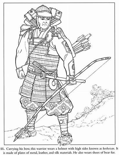 Coloring Samurai Warrior Pages Japanese Japan Culture