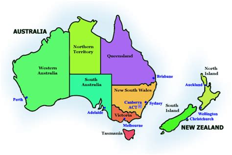 australia map  zealand