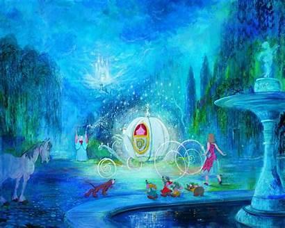 Cinderella Disney Background Dog Castle Fountain Magic