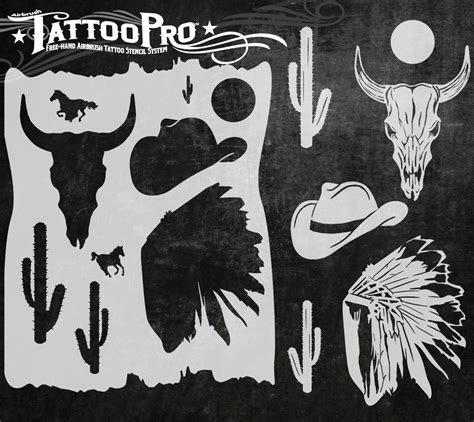 Tattoo Pro Stencil  Wild West (atps141)  Hokeypokey Shop