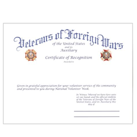 certificate  appreciation vfw image collections