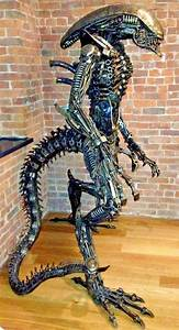 Lifesize Scrap Metal ALIEN Statue - The Green Head