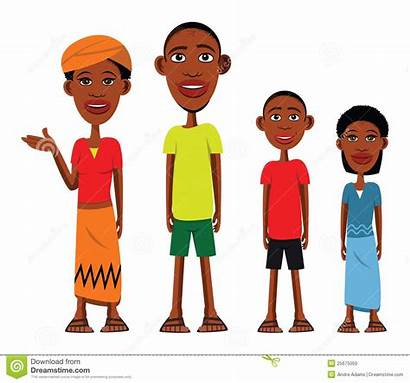 African Clipart Villagers Illustration Cartoon American Happy