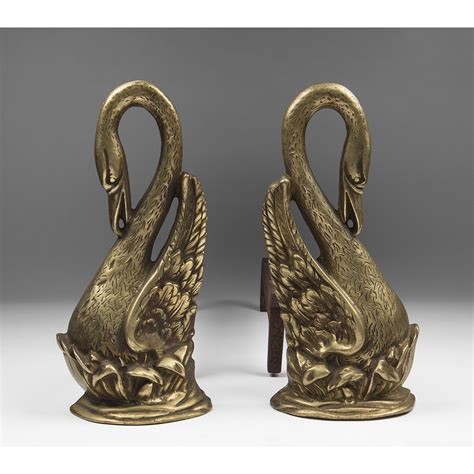 Pair Of Early 20th C French Swan Shaped Brass Chenets