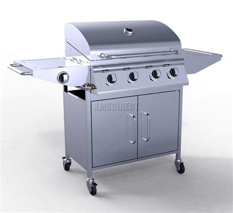 4 burner bbq gas grill edelstahl grill 1 seite silber outdoor tragbar ebay