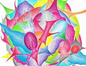 Abstract Flower Drawing by Jera Sky