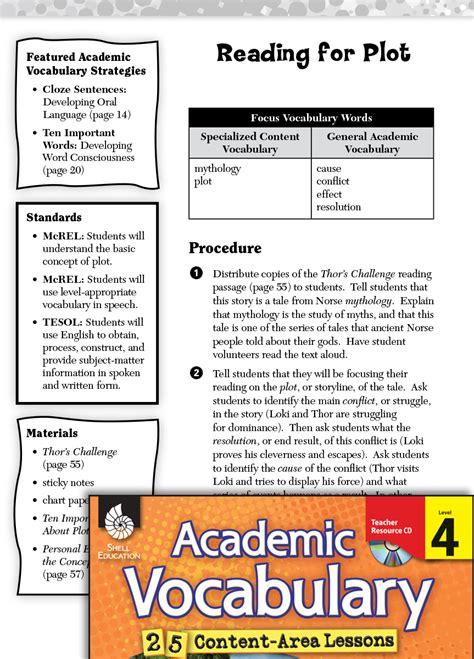reading  plot academic vocabulary level  teachers
