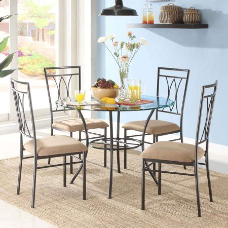 mainstays 5 piece glass and metal dining 42 quot round tabletop walmart com