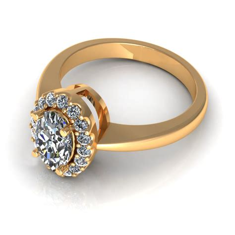 oval engagement ring 3d model 3d printable stl