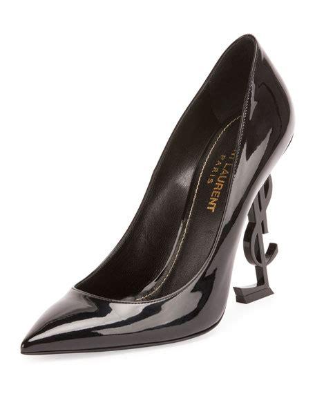Saint Laurent Patent Ysl Heel Pump Neiman Marcus