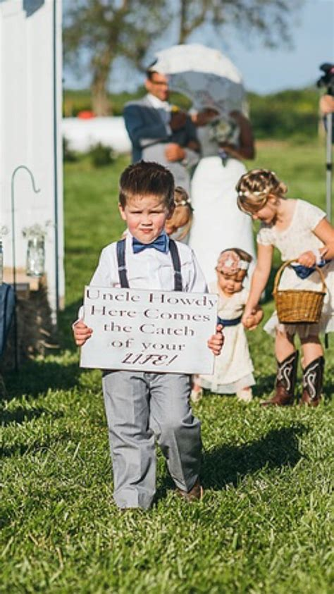 ring bearer sign uncle name here comes the catch of your life here comes the sign
