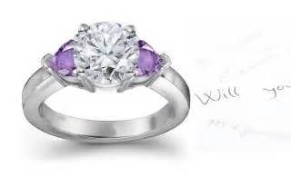 engagement rings with purple diamonds purple sapphire hearts and engagement rings