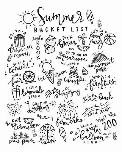 Coloring Summer Bucket Printable Pages Paper Lists