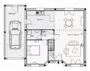 plan maison 1 chambre rdc With plan maison 1 chambre