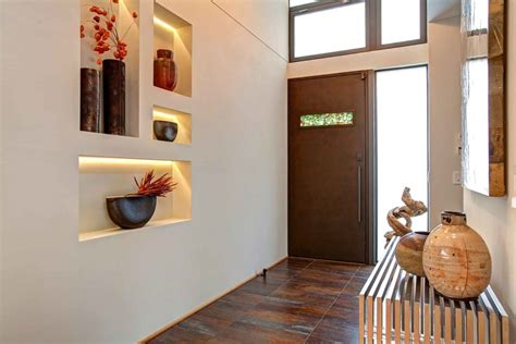 Decorating wall niche ideas entry contemporary with entry bench brown tile floor tree branches