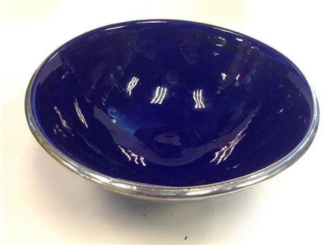 ceramic silver moroccan handmade cobalt blue ceramic bowl silver metal trim bowls
