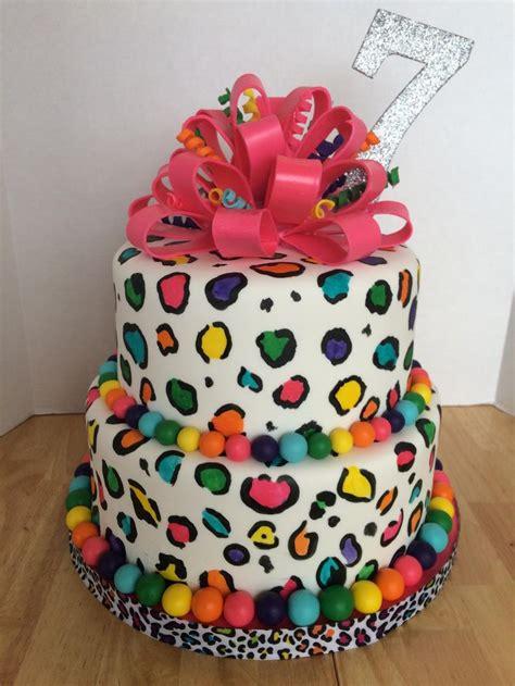 rainbow leopard cake    daughters  birthday