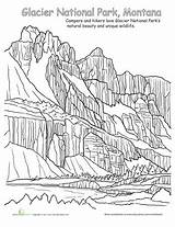 Coloring National Park Glacier Pages Parks Worksheet Worksheets Tree Joshua Everglades Yellowstone Education Adult Sheets Grade Montana Activity Mountains Landscape sketch template