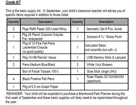 supply lists brentwood park elementary