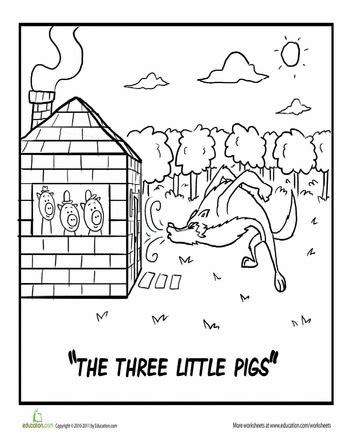 Three Little Pigs Coloring Page Three little pigs