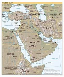 Large scale political map of the Middle East with relief ...