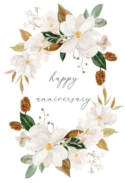 magnolia blooms happy anniversary card  island