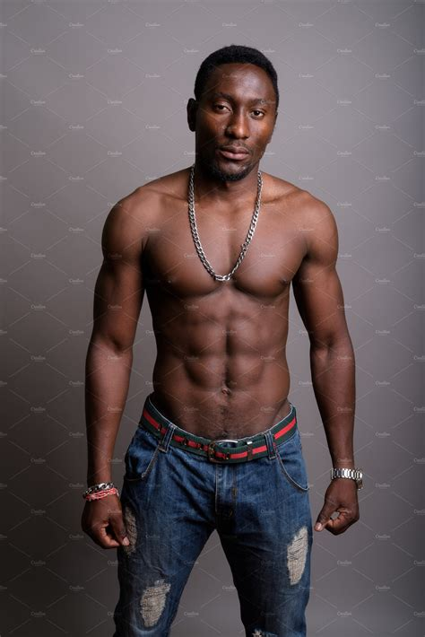 young handsome african man shirtless high quality people