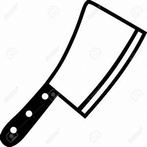 Butcher Knife Clipart Black And White - ClipartXtras