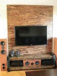 Mur Tv Bois : maauza bois de grange meuble de t l vision fait sur ~ Teatrodelosmanantiales.com Idées de Décoration