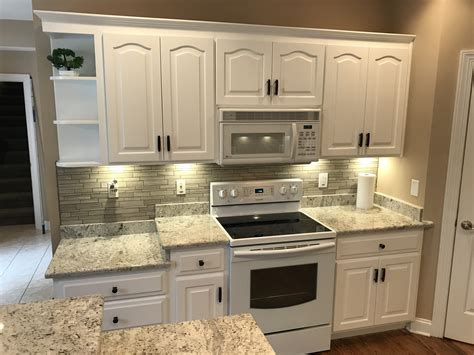 maple cabinets refinished   custom white complete
