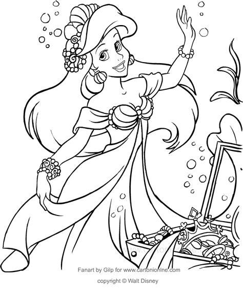 disegni da colorare principessa ariel disegno di ariel con i tesori mare la sirenetta da