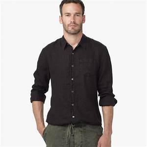 James perse Canvas Linen Shirt in Black for Men | Lyst