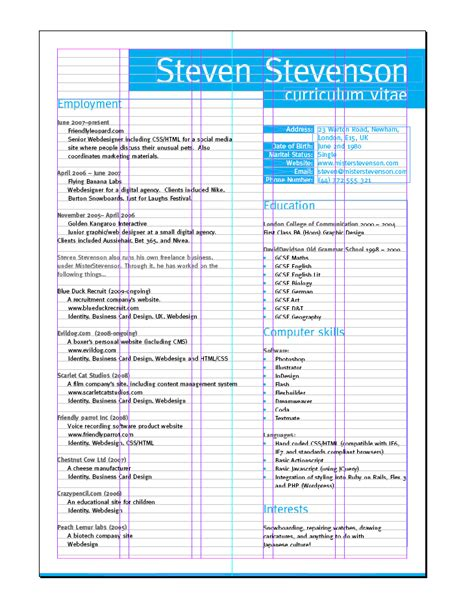 Exle Graphic Design Cv Uk by Create A Grid Based Resume Cv Layout In Indesign