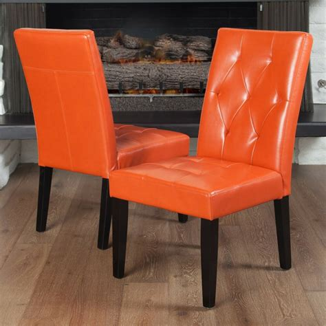 set   contemporary orange leather dining chair  tufted