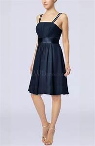 Navy blue plain a line spaghetti chiffon mini sash wedding for Navy blue dress wedding guest