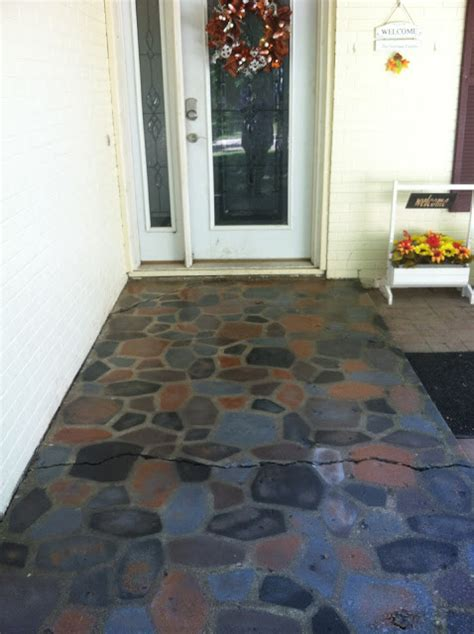 concrete painted spray stones faux patio stone stepping mold using