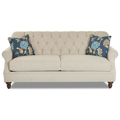 Tufted Apartment Sofa by Klaussner Burbank Traditional Tufted Apartment Size Sofa