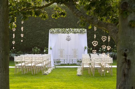 outdoor wedding ceremony garden wedding gaynes park