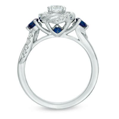 vera wang love collection 5 8 ct t w diamond and blue sapphire swirl engagement ring in 14k