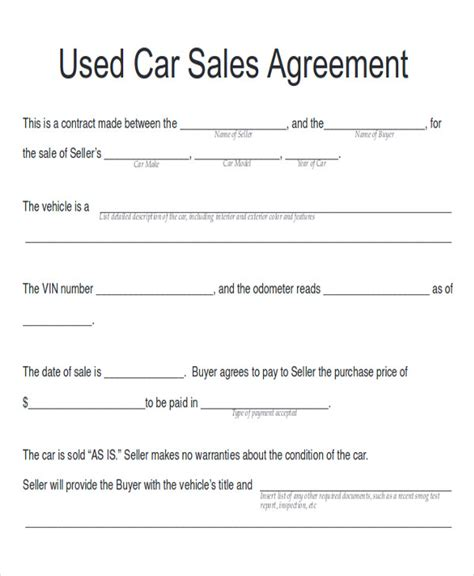 sample car sales contracts  ms word  pages