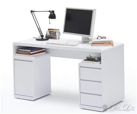 Schreibtisch Ineke 135x59 Weiss Bürotisch 1 Tür 3 Schübe