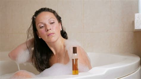 Woman With Soft Skin Showering Stock Footage Video