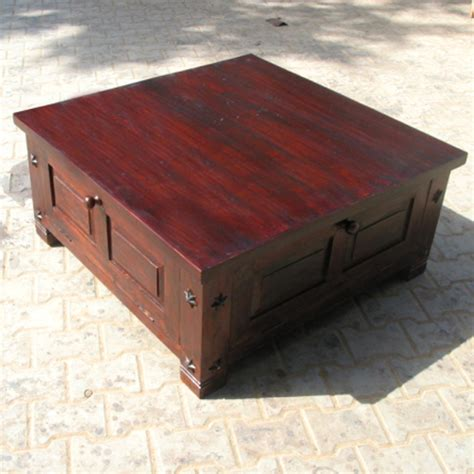 Solid Wood Square Storage Box Trunk Sofa Coffee Table in Cherry w Wrought Iron