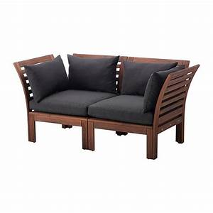 Applaro hallo loveseat outdoor brown stained black ikea for Outdoor sectional sofa ikea