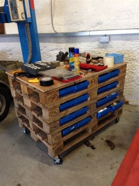 simple wooden pallet work bench ideas pallets designs
