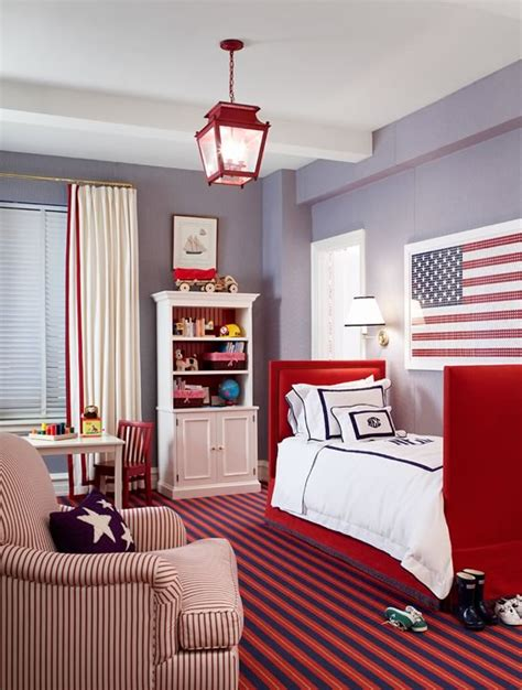 Red White And Blue Boy's Room  Traditional  Boy's Room