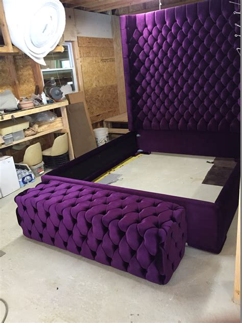purple velvet king headboard wingback tufted bed king size size size wing back